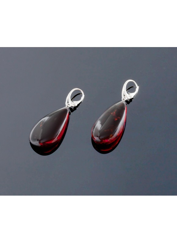 Cherry amber earrings - Droplet