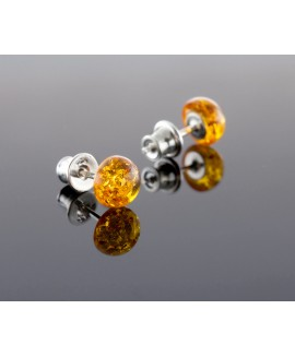 Amber earrings - Round sun