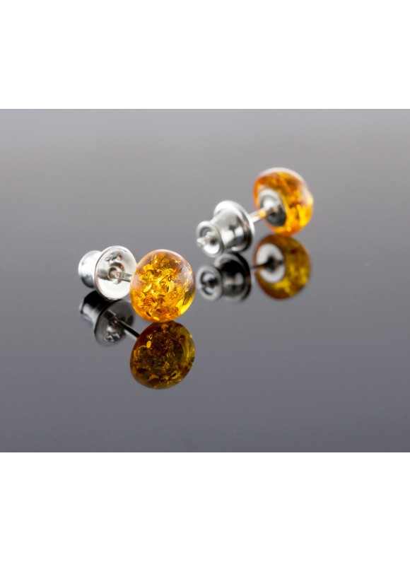 Amber earrings - Round sun