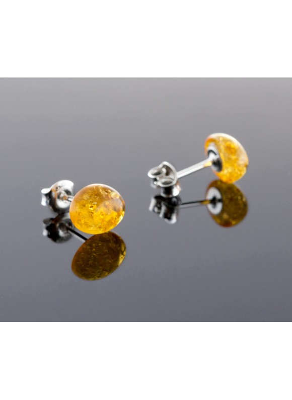 Amber earrings - Oval honey