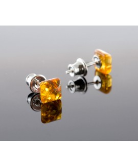 Amber earrings - Square honey