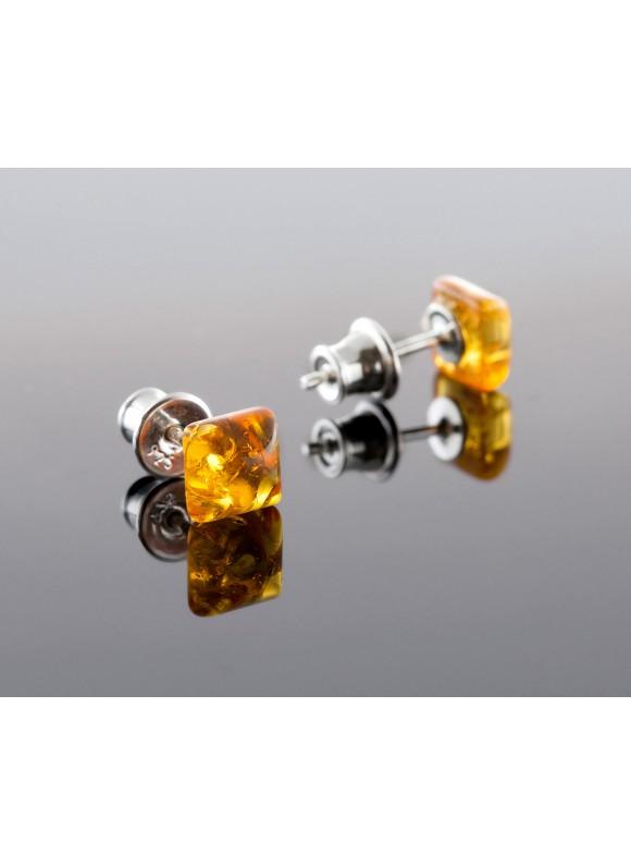 Amber earrings - Square honey