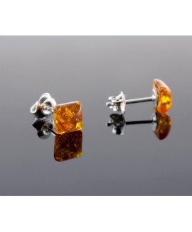 Amber earrings - Square cognac
