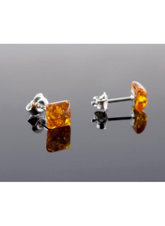 Amber earrings - Square cognac