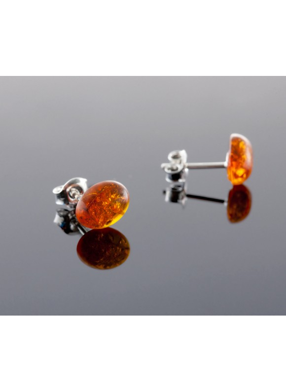 Amber earrings - Oval cagnac