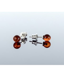 Round cherry amber earrings, 6mm