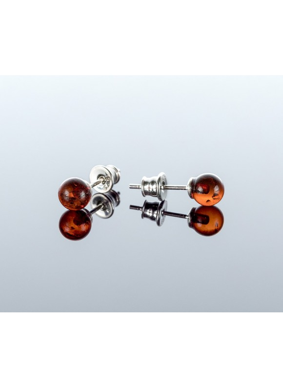 Round cherry amber earrings, 6mm