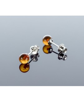 Round cognac amber earrings, 6mm