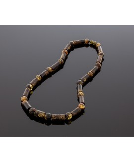 Blackish green amber necklace