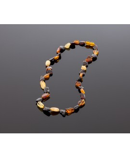 Adult amber necklace - flat multicolored olives