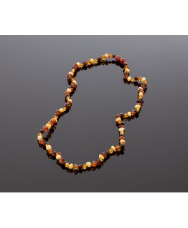 Adult amber necklace - multicolored baroque beads