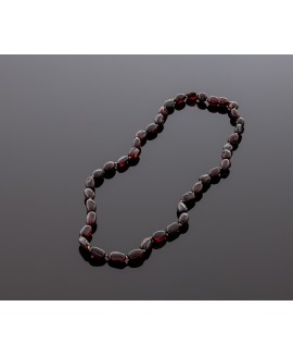 Adult amber necklace - cherry olive beads