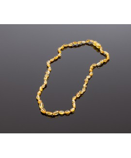 Adult amber necklace - lemon olive beads