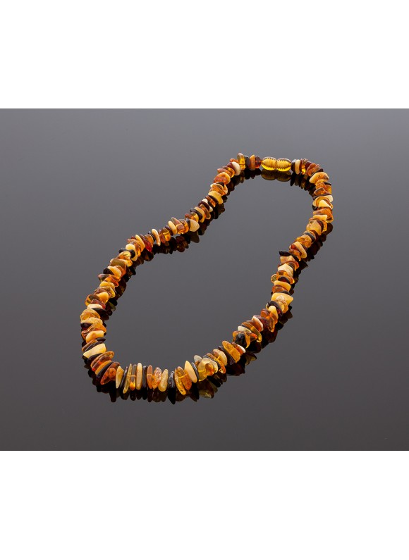 Baltic amber necklace - multicolored chips