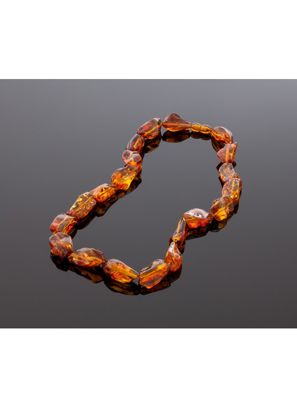 Pure cognac amber necklace
