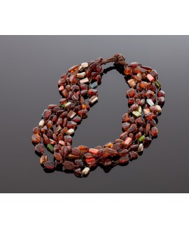 Colorful amber necklace with shells