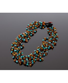 Colorful amber necklace with turquoise
