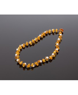 Faceted amber necklace with pearls