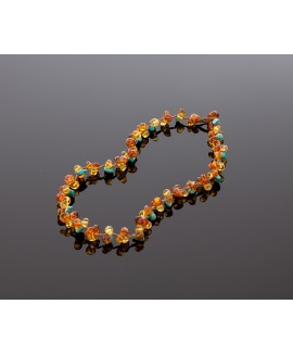 Faceted amber necklace with turquoise