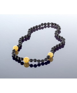 Round black amber necklace, 7mm