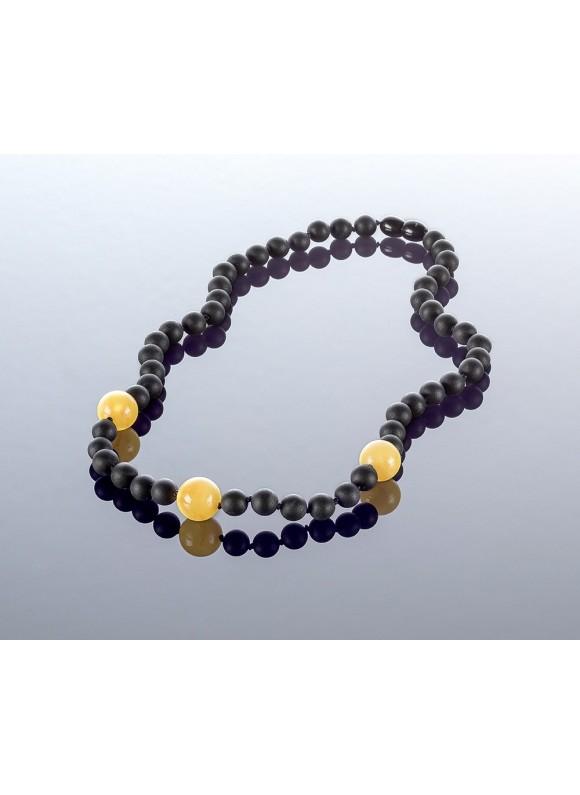 Round black amber necklace, 7mm