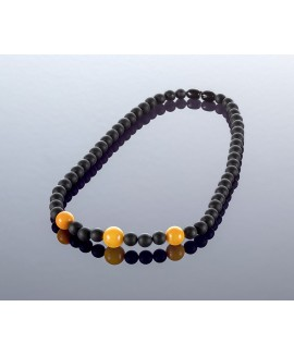 Round black amber necklace, 7x10mm