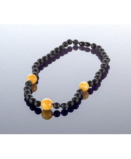 Round black amber necklace, 8mm