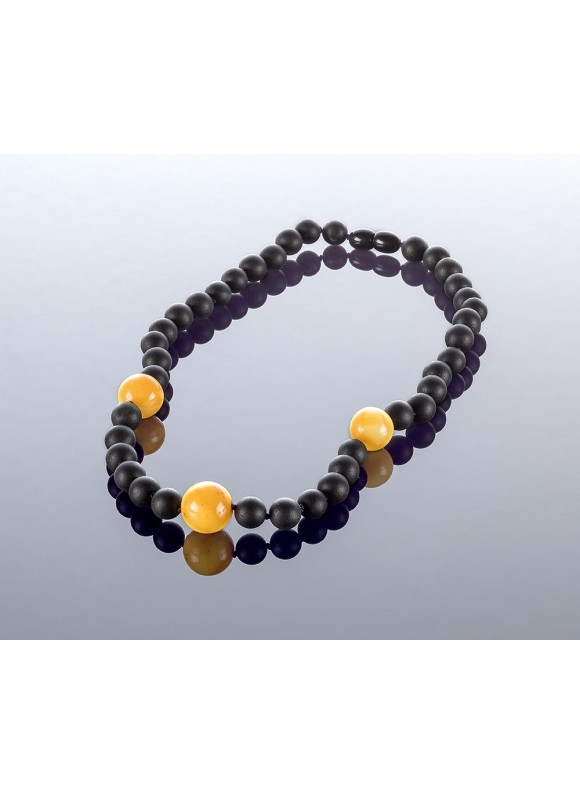 Round black amber necklace, 8mm