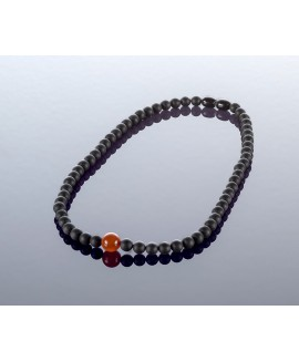 Round black amber necklace, 6mm