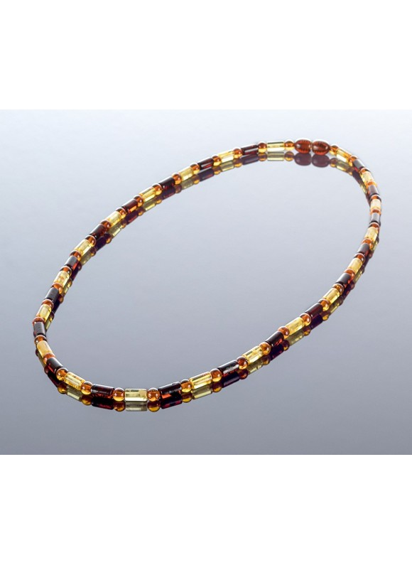 Colored cylinder style amber necklace