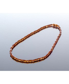 Stylish cylinder style cognac amber necklace