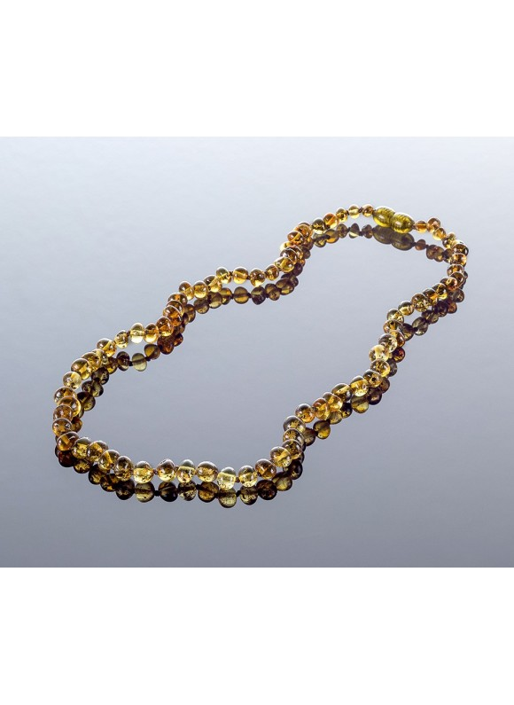 Adult amber necklace - green baroque beads