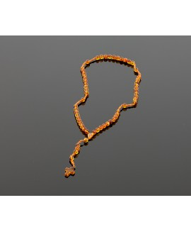 Christian amber rosary - honey color