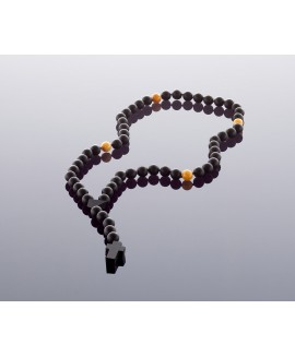 Christian black amber rosary, 10mm