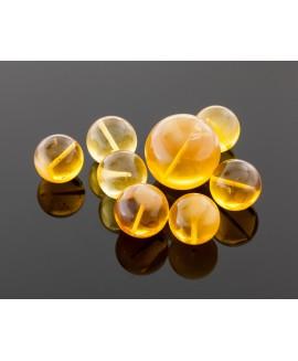 Round transparent amber beads