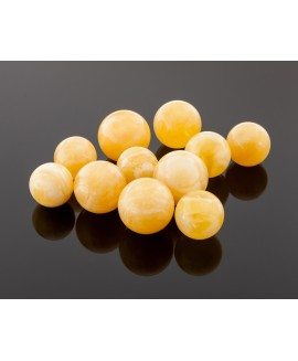 Round yellow amber beads