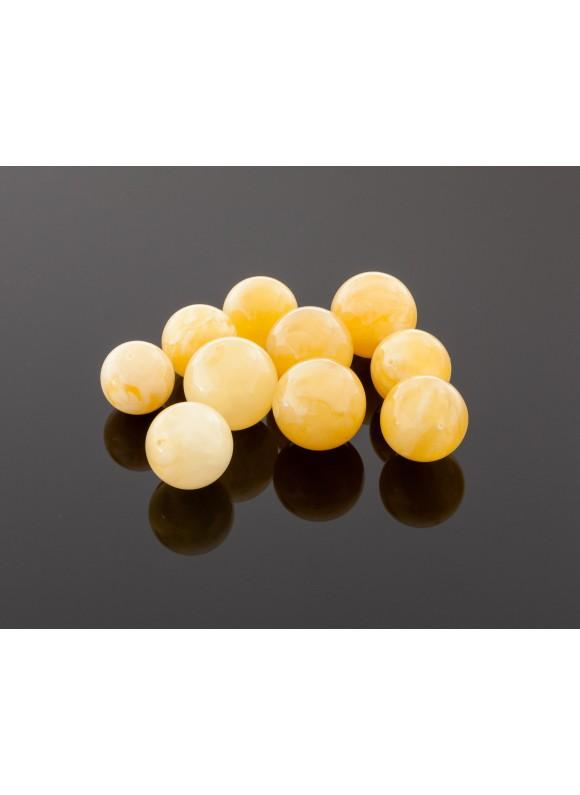 Round royal yellow amber beads