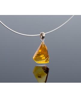 Silver transparent amber pendant