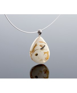 Royal white amber pendant
