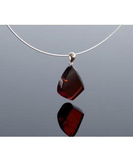 Silver red amber pendant