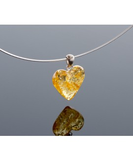 Silver lemon amber heart-pendant