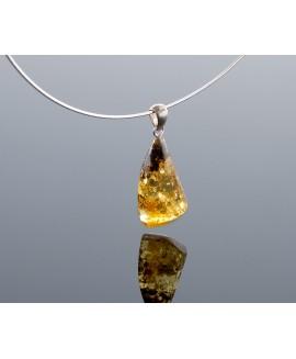 Silver honey amber pendant