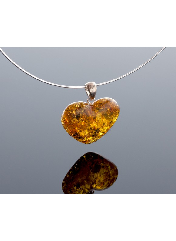 Baltic amber heart-pendant with silver loop