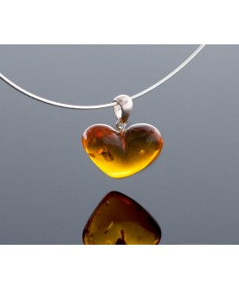 Silver cognac amber heart-pendant