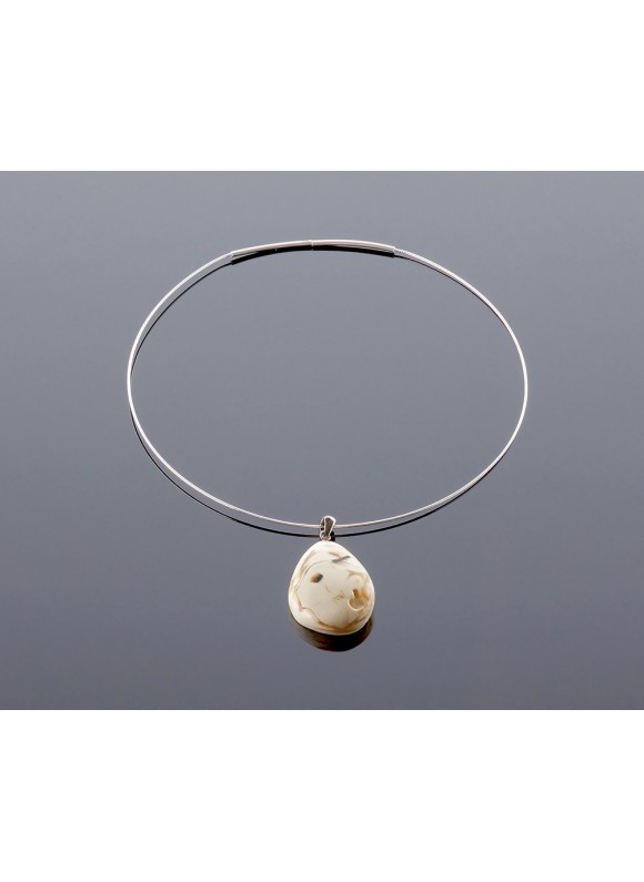 Royal white amber pendant