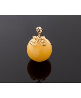Round amber pendant, 33mm